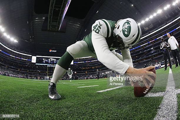 Long Snapper Tanner Purdum of the New York Jets warms up before the game against the Dallas Cowboys on December 19 2015 at ATT Stadium in Arlington...