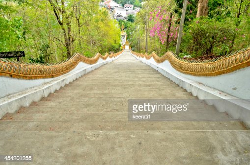 Long stairs to Buddha Statue in Thailand. : Stock Photo