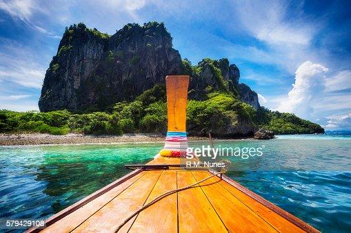 Long Tail Boat in Maya Bay, Koh Phi Phi, Thailand : Stock Photo