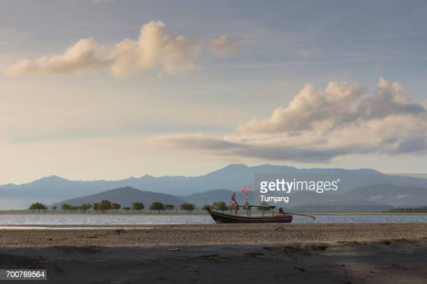 Long Tail Boat on sunrise time at Lake, nature Landscape Sunrise on the Bang Ben Lake, beautiful nature Landscape and Traditional Boat