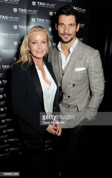 Long term friend of the brand Bo Derek and David Gandy attend the launch of TAG Heuer's new Aquaracer at Tramp on October 8 2013 in London England