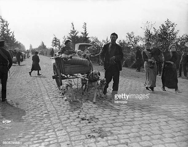 A long the roads leading to Antwerp an everlasting stream of civilians may be seen flying before the German shells But despite 'this hurricane of...