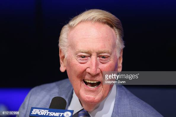 Long time Los Angeles Dodgers announcer Vin Scully speaks at a press conference discussing his career upcoming retirement at Dodger Stadium on...