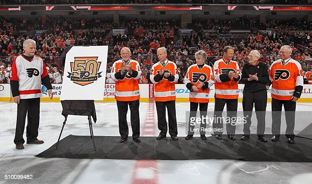 Long time season ticket holder Joe Sahina Bernie Parent Mark Howe Donna Ashbee Bill Barber long time season ticket holder Edgar Weinrott and Bob...