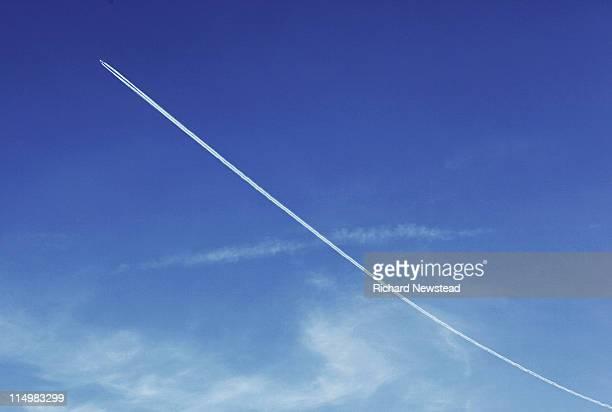 Long vapor trail of plane