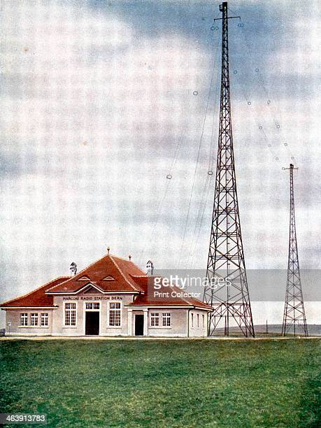 Long wave transmitter masts at a Marconi radio station at Berne Switzerland c1925