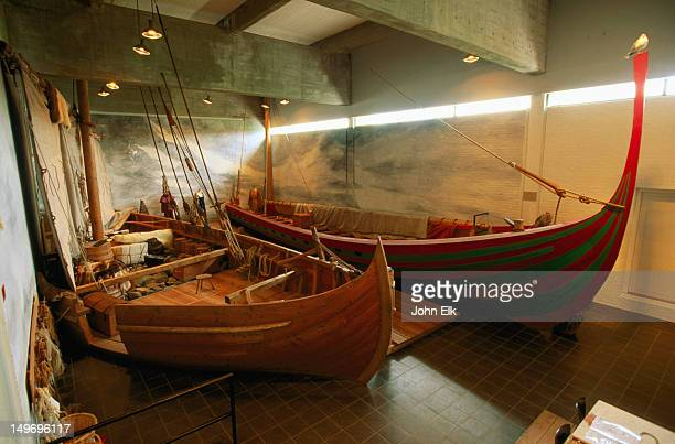 Longboat models at Viking Ship Museum.