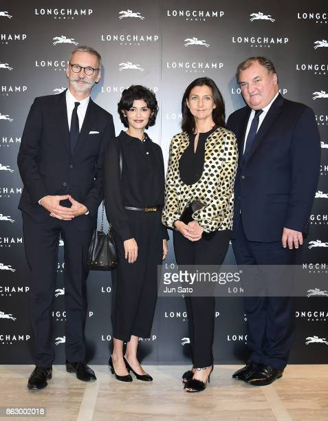 Longchamp CEO Jean Cassegrain actress Audrey Tautou Longchamp artistic director Sophie Delafontain and Longchamp US Business Director Olivier...