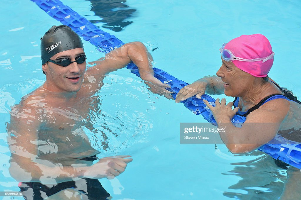 Long-distance swim legend <a gi-track='captionPersonalityLinkClicked' href=/galleries/search?phrase=Diana+Nyad&family=editorial&specificpeople=678501 ng-click='$event.stopPropagation()'>Diana Nyad</a> (R) and Olympic Gold Medalist <a gi-track='captionPersonalityLinkClicked' href=/galleries/search?phrase=Ryan+Lochte&family=editorial&specificpeople=182557 ng-click='$event.stopPropagation()'>Ryan Lochte</a> attend day 1 of 'Swim For Relief' Benefiting Hurricane Sandy Recovery at Herald Square on October 8, 2013 in New York City.