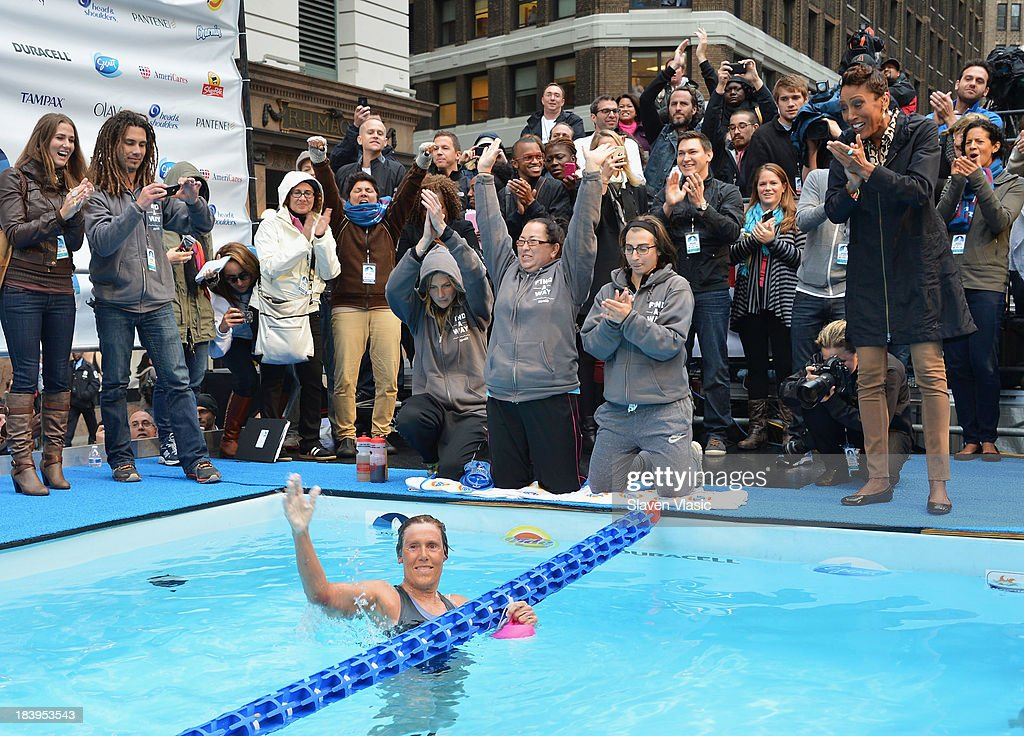 Longdistance swim legend Diana Nyad fresh of her recordbreaking swim from Cuba to Florida completes 48hour continuous 'Swim For Relief' benefiting...