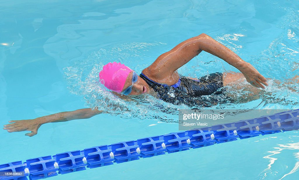 Longdistance swim legend Diana Nyad fresh off her recordbraking swim from Cuba to florida swims at day 1 of 'Swim For Relief' Benefiting Hurricane...