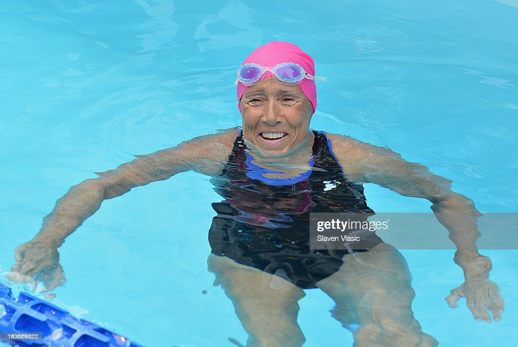 Long-distance swim legend <a gi-track='captionPersonalityLinkClicked' href=/galleries/search?phrase=Diana+Nyad&family=editorial&specificpeople=678501 ng-click='$event.stopPropagation()'>Diana Nyad</a>, having recently completed her record-braking swim from Cuba to Florida, swims at day 1 of 'Swim For Relief' Benefiting Hurricane Sandy Recovery at Herald Square on October 8, 2013 in New York City.