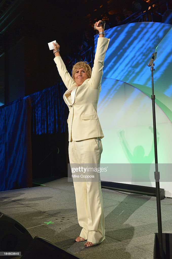 Longdistance swim legend Diana Nyad onstage during the 34th annual Salute to Women In Sports Awards at Cipriani Wall Street on October 16 2013 in New...