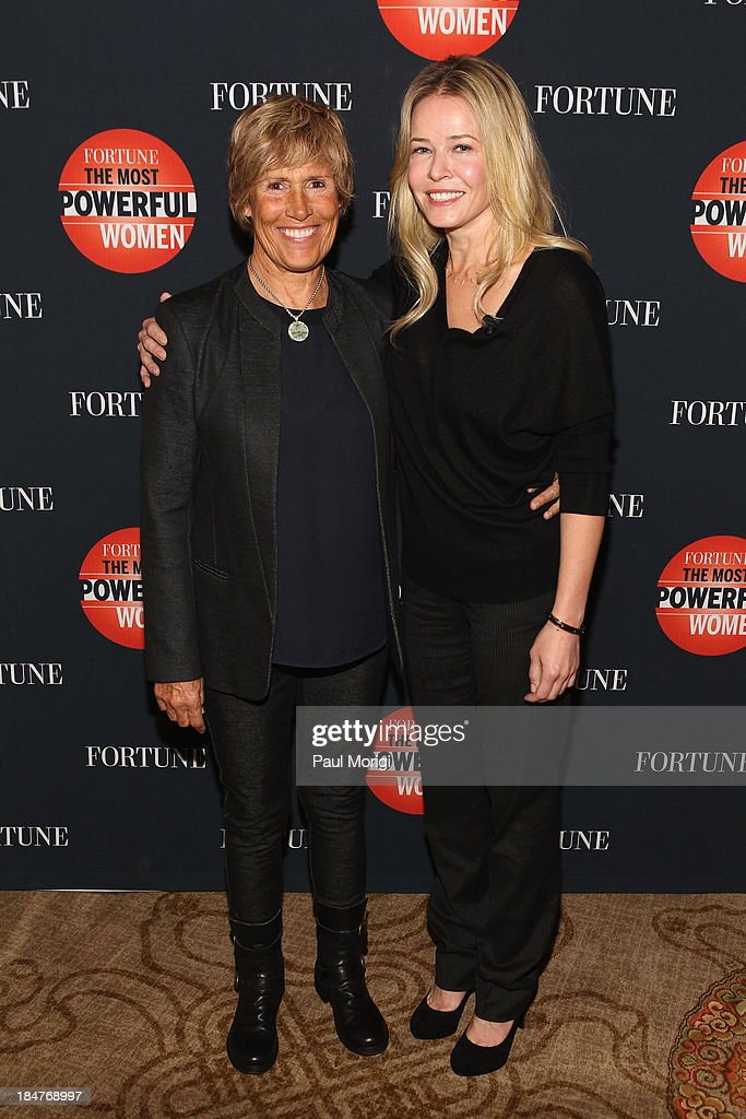Longdistance swimmer Diana Nyad and Chelsea Handler attend the FORTUNE Most Powerful Women Summit on October 16 2013 in Washington DC