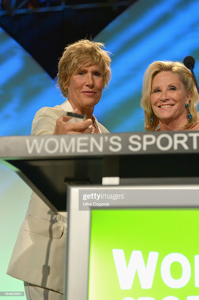 Longdistance swimmer Diana Nyad and former Olympic swimmer Donna de Varona onstage during the 34th annual Salute to Women In Sports Awards at...