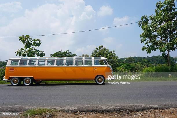 Longest Volkswagen Kombi in the world is seen in front of a garage in Semarang Central Java Indonesia on January 19 2016 World's longest Volkswagen...