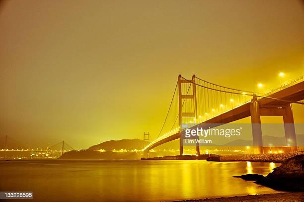 Long-exposed photo of hk's tzing ma bridge