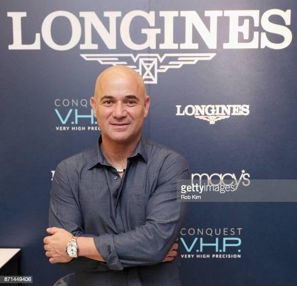 Longines Ambassador of Elegance Andre Agassi appears at Macys Herald Square for the US launch of the Conquest VHP on November 7th 2017 in New York...