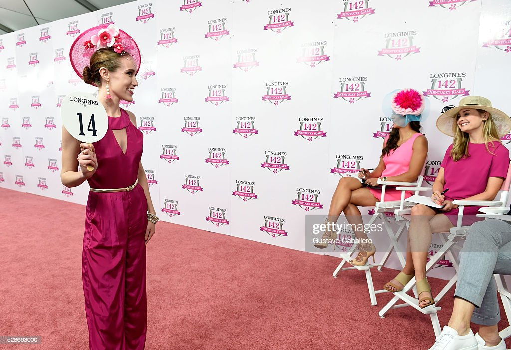 Longines Kentucky Oaks Fashion Contest contestant presents at the 2016 Kentucky Oaks at Churchill Downs on May 6, 2016 in Louisville, Kentucky.