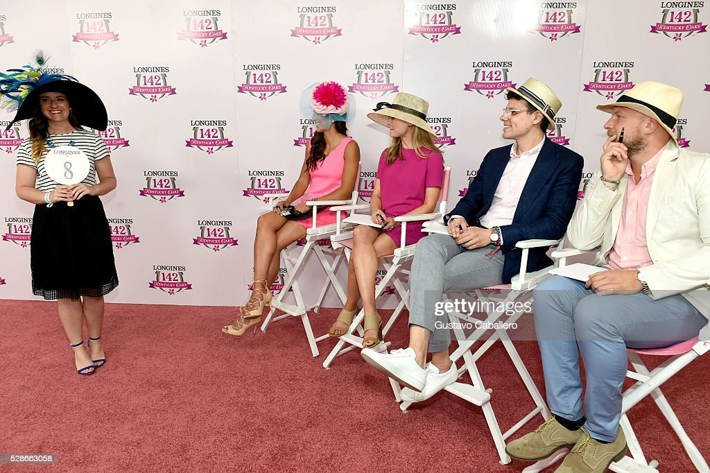 Longines Kentucky Oaks Fashion Contest contestant presents to judges Grace Wayneright of Southern Drawl and Ashley Riddle Williams of Southern Living, and Jeff Tousey of Vanity Fair during the 2016 Kentucky Oaks at Churchill Downs on May 6, 2016 in Louisville, Kentucky.
