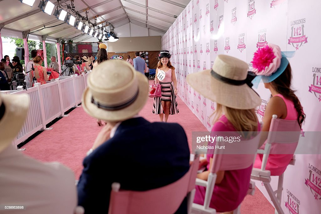 Longines Kentucky Oaks Fashion Contest contestant presents to judges at the 2016 Kentucky Oaks at Churchill Downs on May 6, 2016 in Louisville, Kentucky.
