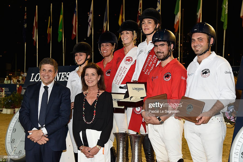 Longines Vice President Juan Carlos Capelli, Princess Caroline of Hanover, Electra Niarchos, Luciana Diniz, <a gi-track='captionPersonalityLinkClicked' href=/galleries/search?phrase=Edwina+Tops-Alexander&family=editorial&specificpeople=8673928 ng-click='$event.stopPropagation()'>Edwina Tops-Alexander</a>, <a gi-track='captionPersonalityLinkClicked' href=/galleries/search?phrase=Charlotte+Casiraghi&family=editorial&specificpeople=206874 ng-click='$event.stopPropagation()'>Charlotte Casiraghi</a>, Amre Hamcho and Baraa Jaboulieh attend the Longines Pro-Am Cup Monaco 2014 Prize ceremony during the International Monte-Carlo Jumping at Port Hercule on June 27, 2014 in Monaco, Monaco.