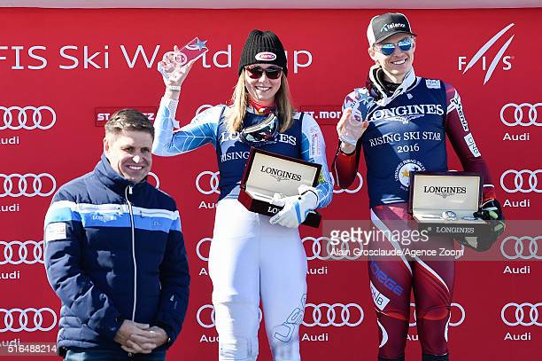 Longines VicePresident Juan Carlos Capelli presents Mikaela Shiffrin of the USA and Henrik Kristoffersen of Norway with the Longines Rising Ski Star...