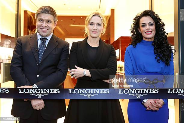 Longines VicePresident JuanCarlos Capelli Longines Ambassador of Elegance Kate Winslet and Longines UK Brand Director Katrina Jones attend the...
