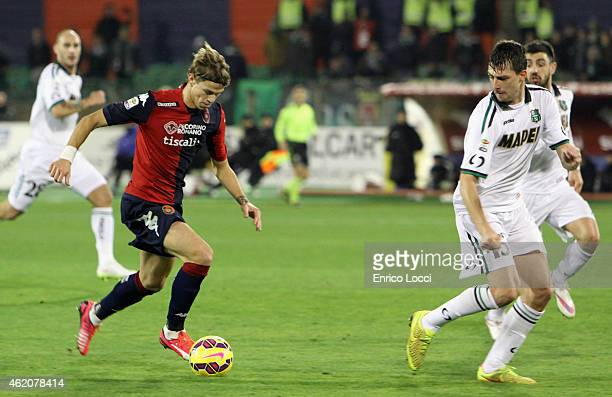 Longo Samuele of Cagliari in action during the Serie A match between Cagliari Calcio and US Sassuolo Calcio at Stadio Sant'Elia on January 24 2015 in...