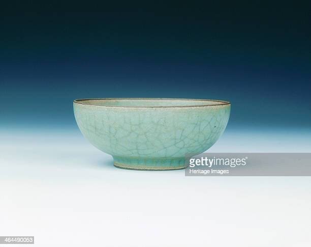 Longquan tea bowl with Guan type crackled celadon glaze Southern Song dynasty China 12thearly 13th century A small Guan type bowl covered with an...