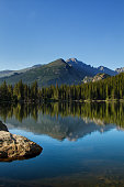 Long's Peak in Rocky Mountain National Park reflects into Bear Lake on a summer day