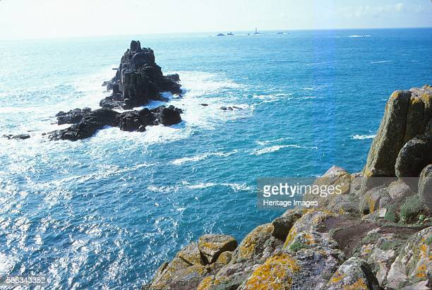 Longships Lighthouse and the Armed Knight Lands End Cornwall 20th century Land's End is a headland and the most westerly point of mainland Cornwall...