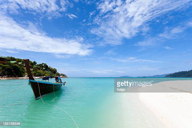 Longtail Boat and white sand beach, Thailand