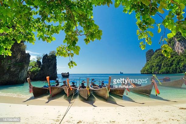Longtail Boats at the beach on Krabi tropical island