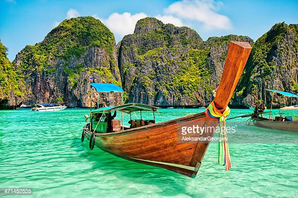 Longtail Wooden Boat at Maya Bay, Thailand