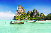 Longtale boats at the beautiful beach, Thailand