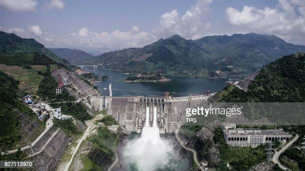 Longtan hydroelectricpower station opens its sluice to release water for the need of flood control in southwest China's Guangxi Zhuang Autonomous...