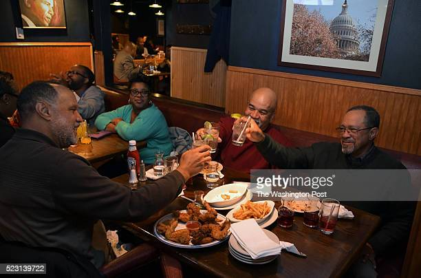 Longterm customers that rendez vous once a month at Stan's Restaurant and Cocktail Lounge on Vermont Ave NW raise their glasses in a toast April 13...