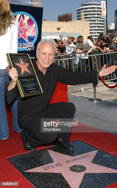 Longtime Los Angeles television broadcaster Steve Edwards attends the ceremony honoring him with a star on the Hollywood Walk of Fame on May 14 2004...