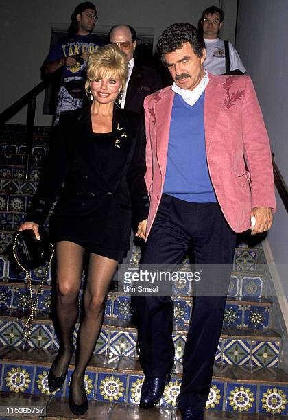 Loni Anderson and Burt Reynolds during 'LaVern Baker' Opening Night at the Cinegrill at Roosevelt Hotel in Hollywood California United States