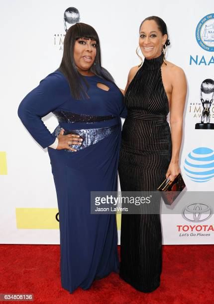 Loni Love and Tracee Ellis Ross attend the 48th NAACP Image Awards at Pasadena Civic Auditorium on February 11 2017 in Pasadena California