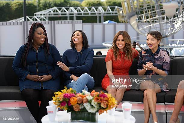 Loni Love Tamar Braxton Adrienne Bailon and Jeannie Mai of 'The Real' visit 'Extra' at Universal Studios Hollywood on February 25 2016 in Universal...