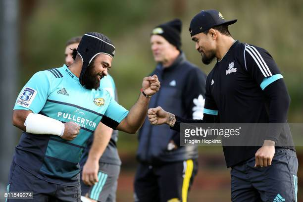 Loni Uhila and Vaea Fifita plays a game during a Hurricanes Super Rugby training session at Rugby League Park on July 10 2017 in Wellington New...