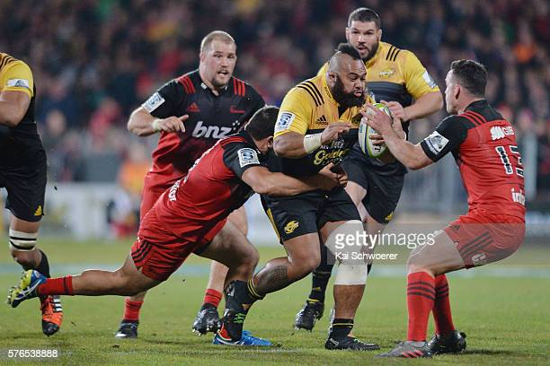 Loni Uhila of the Hurricanes charges forward during the round 17 Super Rugby match between the Crusaders and the Hurricanes at AMI Stadium on July 16...
