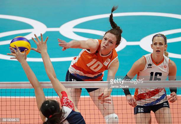 Lonneke Sloetjes of Netherlands in action during the Women's Volleyball Semifinal match at the Maracanazinho on Day 13 of the 2016 Rio Olympic Games...
