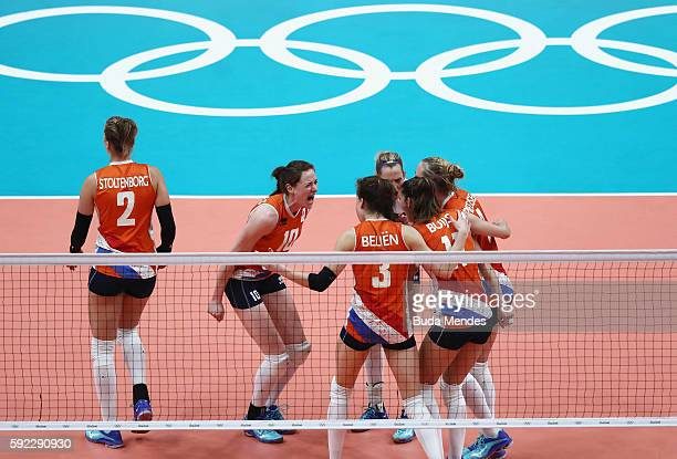 Lonneke Sloetjes Yvon Belien of Netherlands celebrate winning the second set during the Women's Bronze Medal Match between Netherlands and the United...