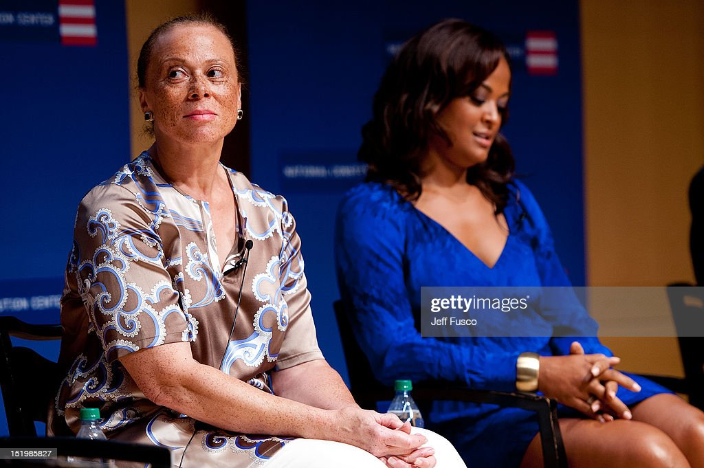 Lonnie Ali (L) and Laila Ali take part in a panel discussion prior to the 2012 Liberty Medal Ceremony at the National Constitution Center on September 13, 2012 in Philadelphia, Pennsylvania.