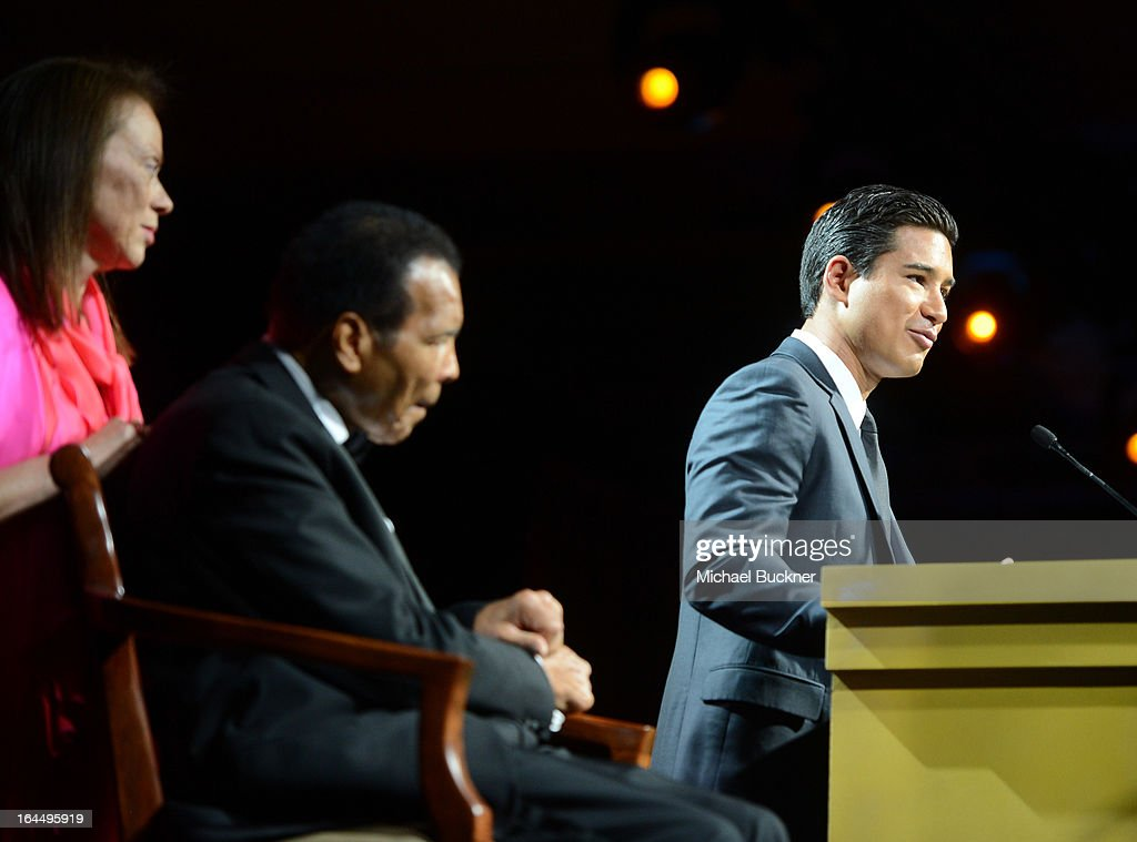 Lonnie Ali, Muhammad Ali and Mario Lopez attend Muhammad Ali's Celebrity Fight Night XIX at JW Marriott Desert Ridge Resort & Spa on March 23, 2013 in Phoenix, Arizona.