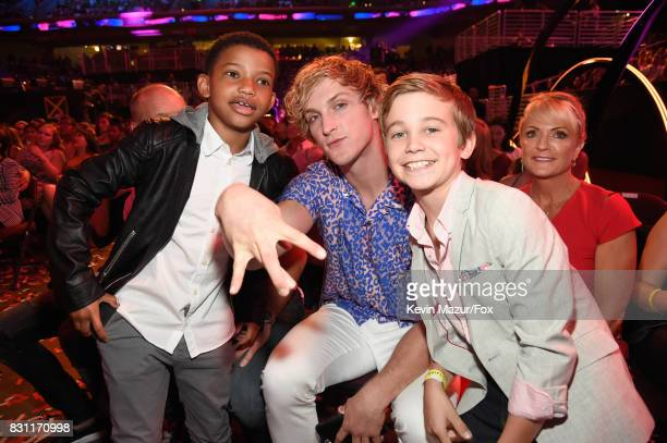 Lonnie Chavis Logan Paul and Parker Bates attend Teen Choice Awards 2017 at Galen Center on August 13 2017 in Los Angeles California