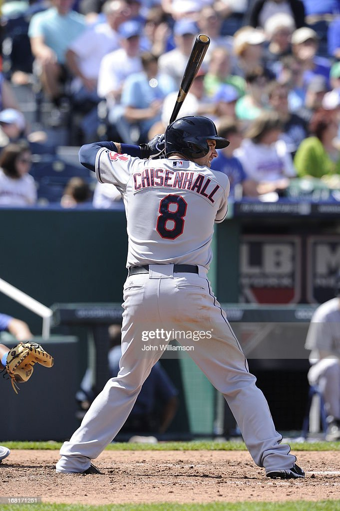 Lonnie Chisenhall of the Cleveland Indians bats against the Kansas City Royals on April 28 2013 at Kauffman Stadium in Kansas City Missouri The...